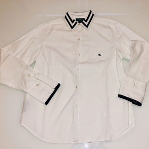 Ralph Lauren White Button Down w/ Navy Piping